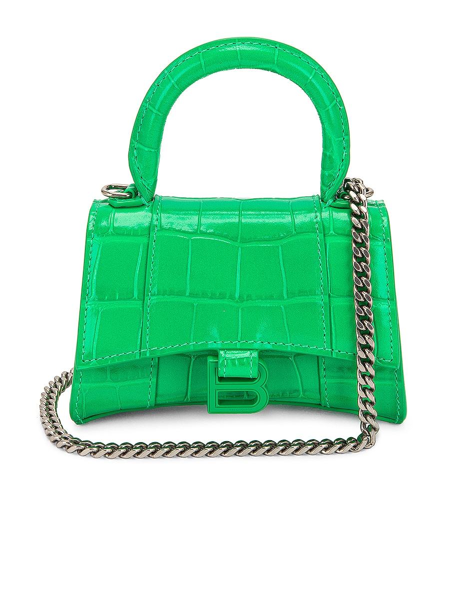 Image 1 of Balenciaga Mini Hourglass Top Handle Bag in Vivid Green