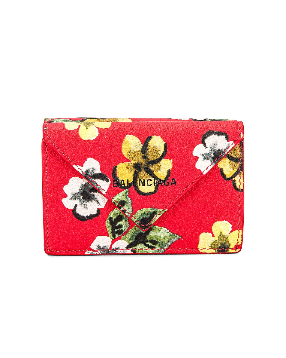 Image 1 of Balenciaga Papier Mini Wallet in Red