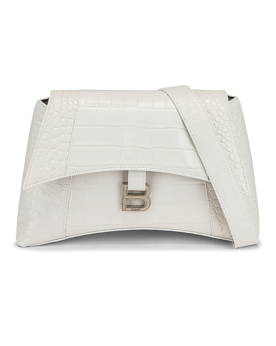 Image 1 of Balenciaga Small Soft Hourglass Shoulder Bag in White