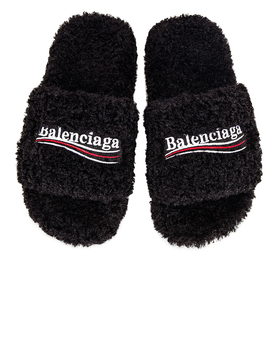 Image 1 of Balenciaga Furry Slippers in Black & White & Red