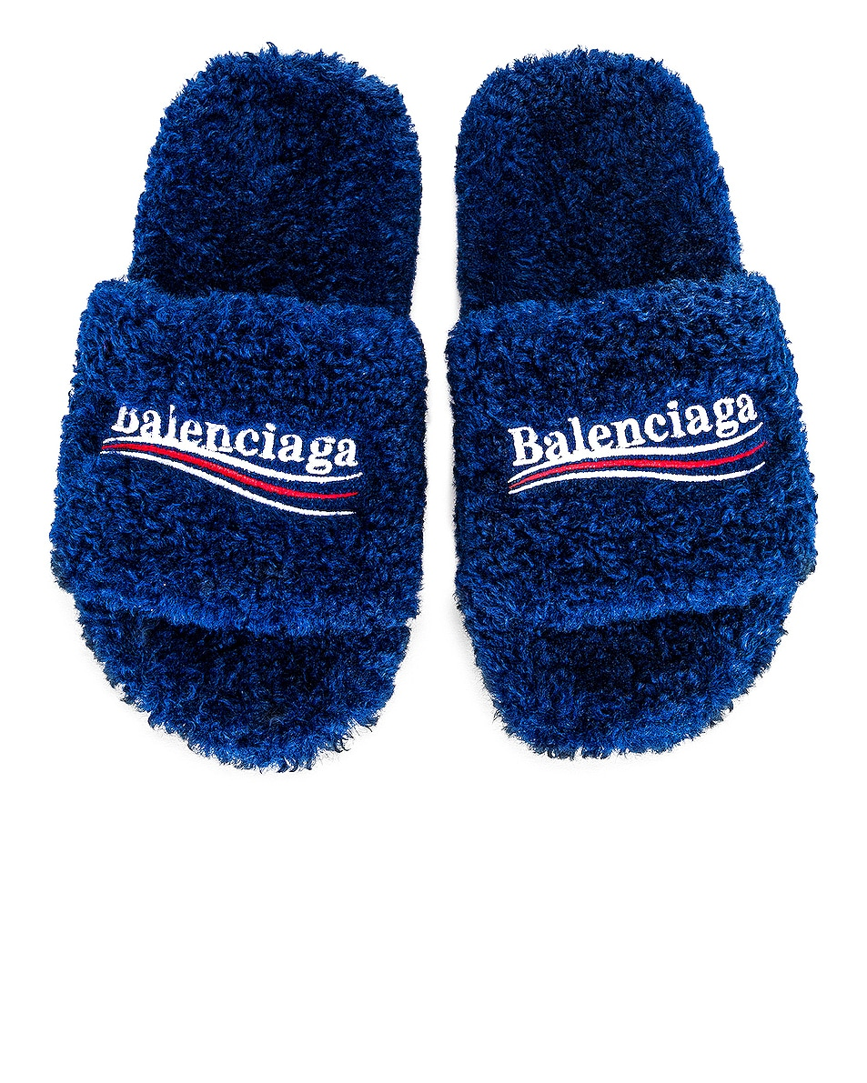 Image 1 of Balenciaga Furry Slippers in Blue & White & Red