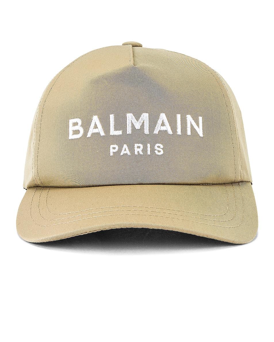 Image 1 of BALMAIN Cotton Twill Cap in Beige
