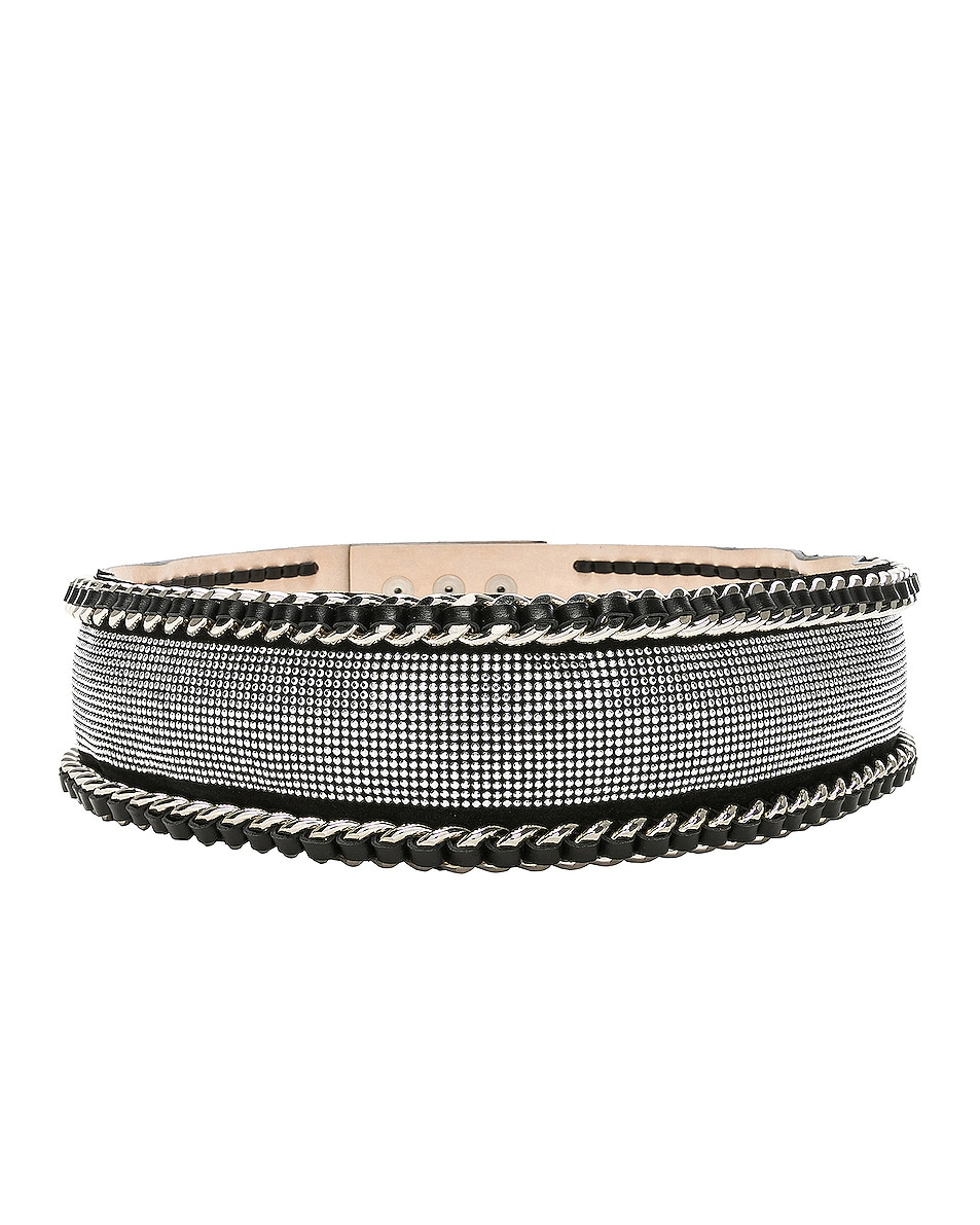 Image 1 of BALMAIN High Waist Chain Belt in Black & Silver
