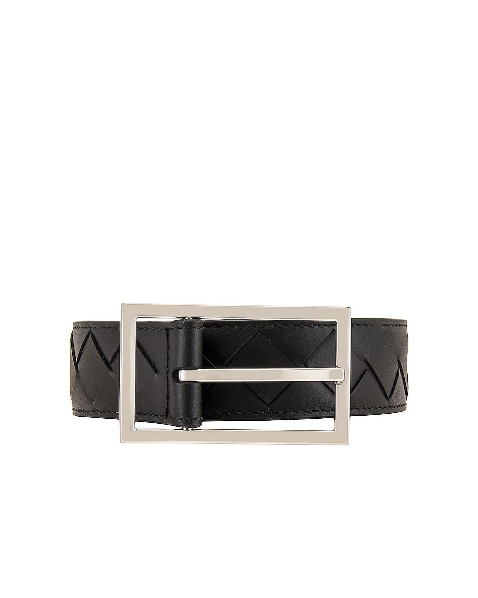 Image 1 of Bottega Veneta Belt in Black & Silver