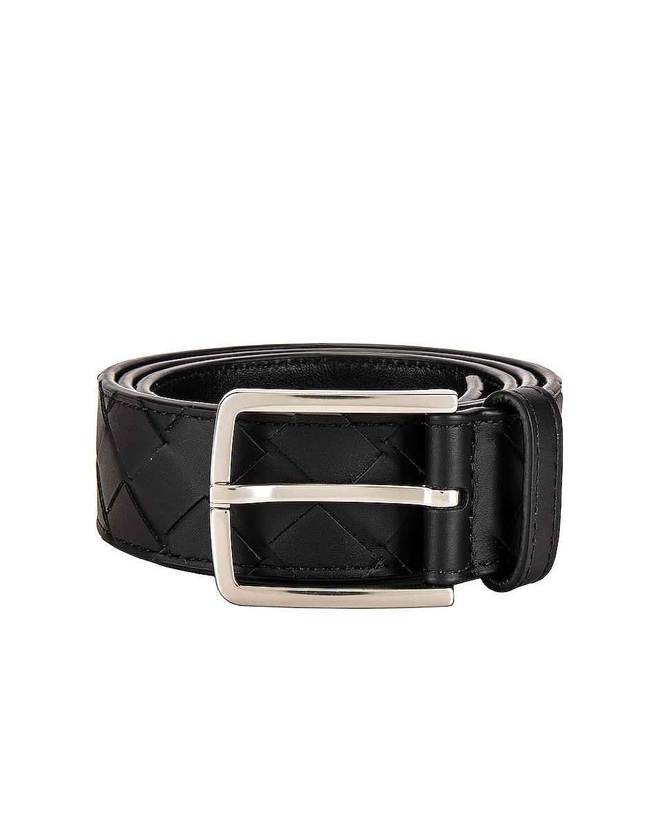 Image 1 of Bottega Veneta Belt in Black in Black & Silver