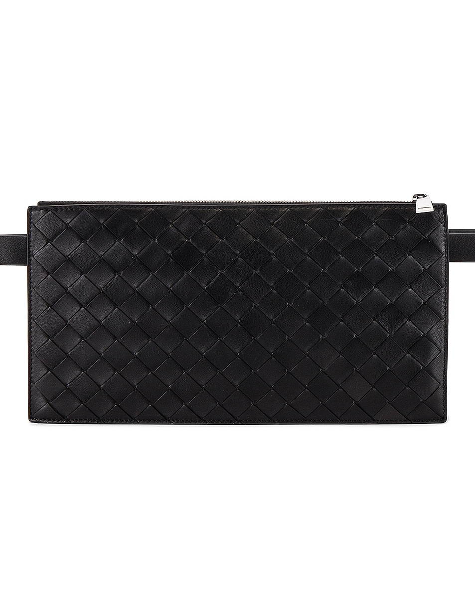 Image 1 of Bottega Veneta Pouch in Black & Black & Black