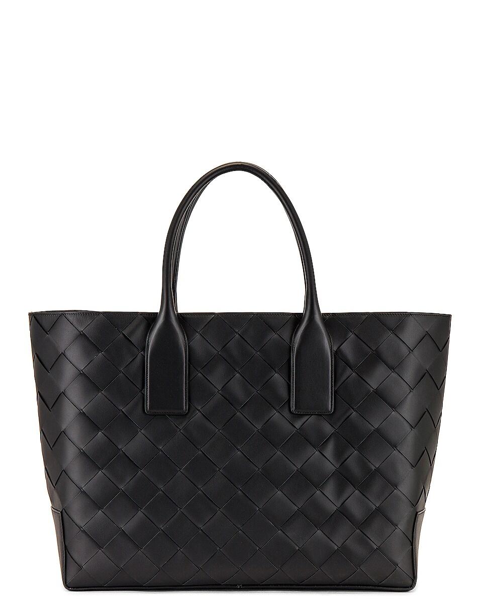 Image 1 of Bottega Veneta Intreccio Tote Bag in Black & Black Silver