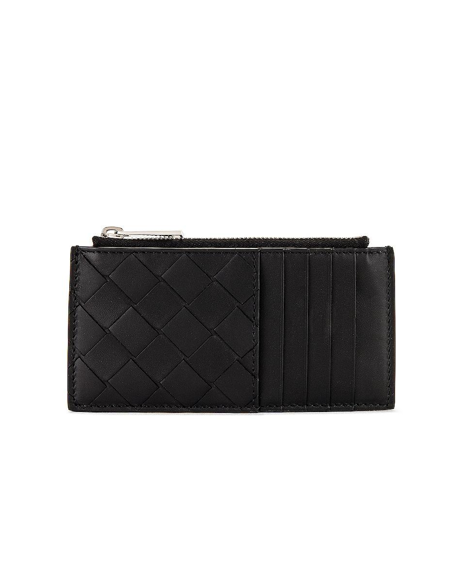 Image 1 of Bottega Veneta Zip Card Case in Black & Silver