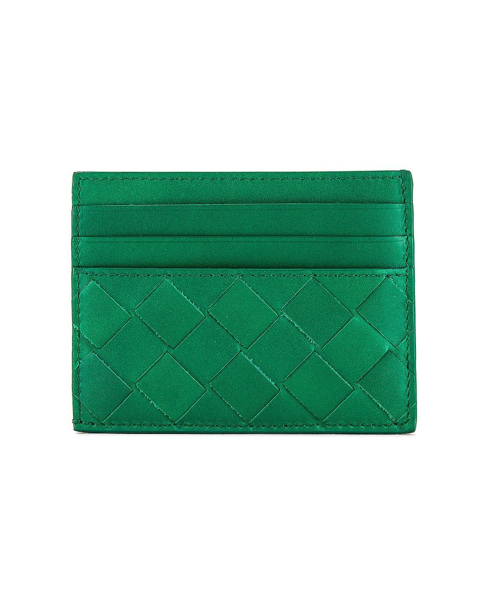 Image 1 of Bottega Veneta Cardholder in Racing Green & Silver