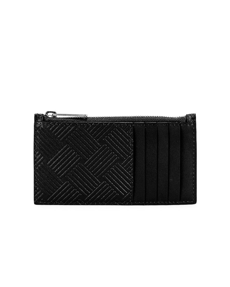 Image 1 of Bottega Veneta Zip Wallet in Black & Silver