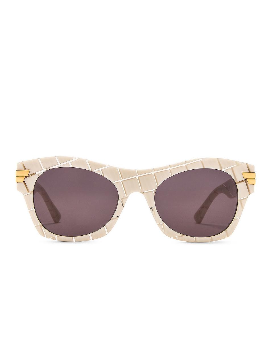 Image 1 of Bottega Veneta Bold Ribbon Intreccio Sunglasses in Shiny Ivory & Crystal