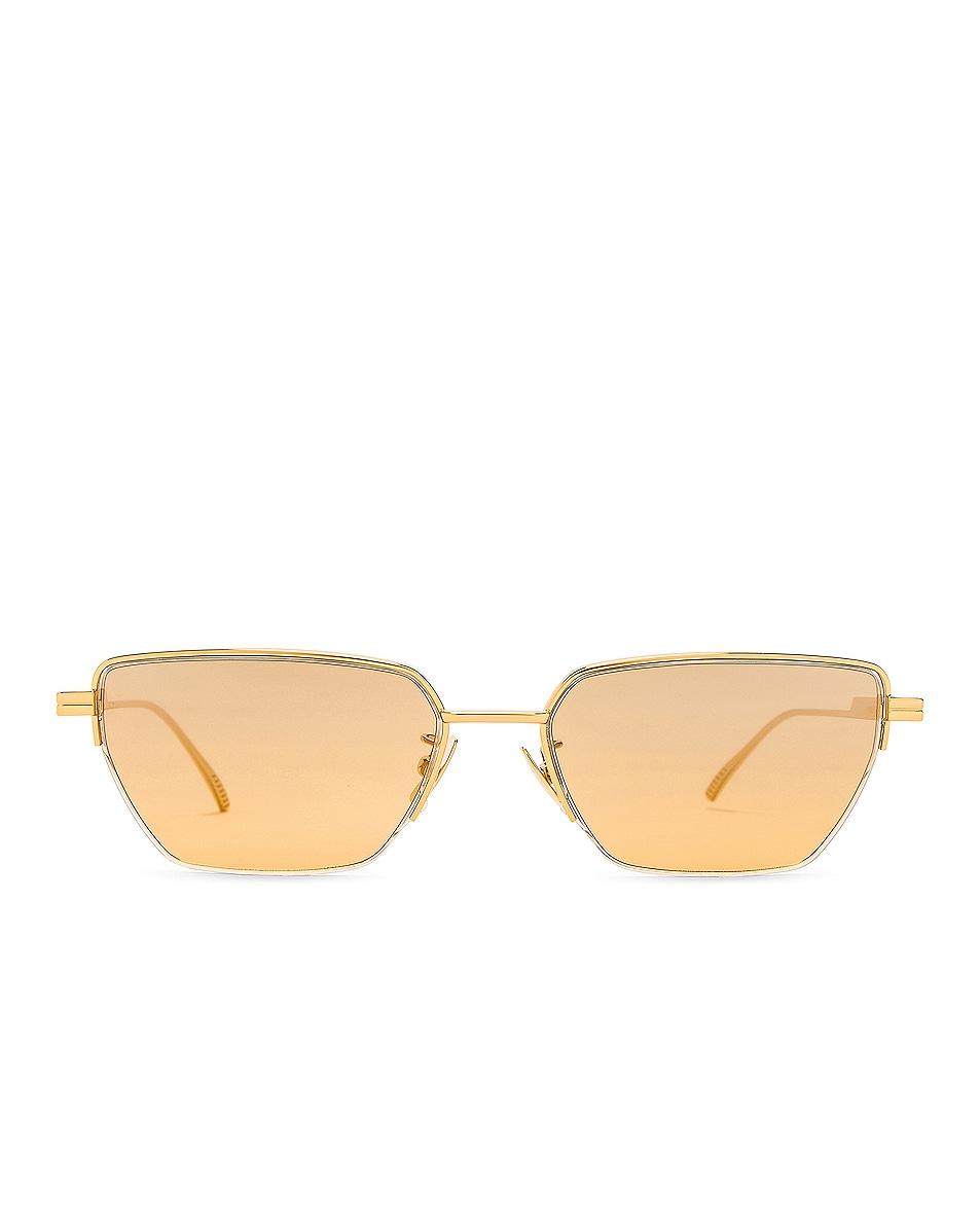 Image 1 of Bottega Veneta Light Ribbon Narrow Sunglasses in Shiny Gold & Grey