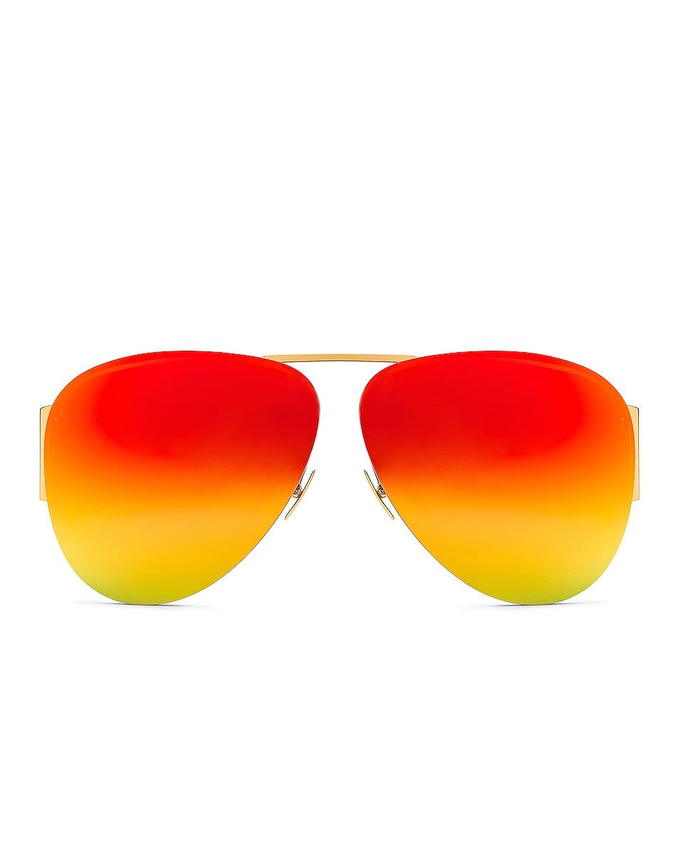Image 1 of Bottega Veneta Pilot Sunglasses in Shiny Gold & Multicolor Mirror