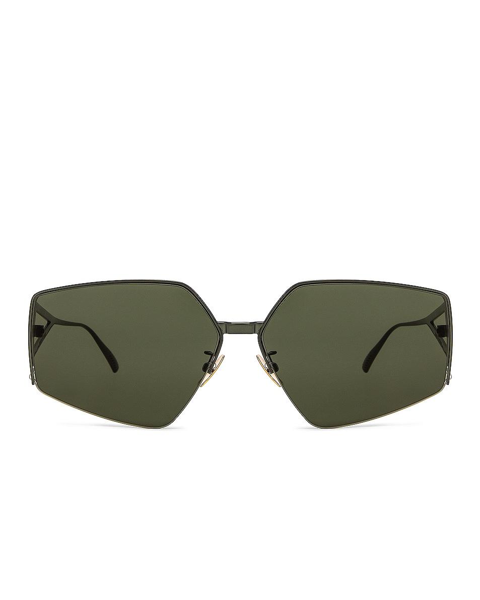 Image 1 of Bottega Veneta Light Ribbon Metal Sunglasses in Green