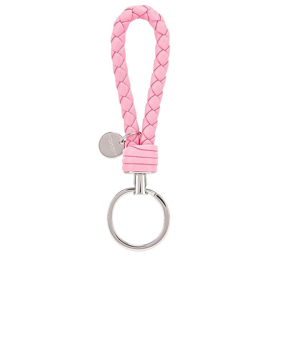Image 1 of Bottega Veneta Woven Key Ring in Rosa