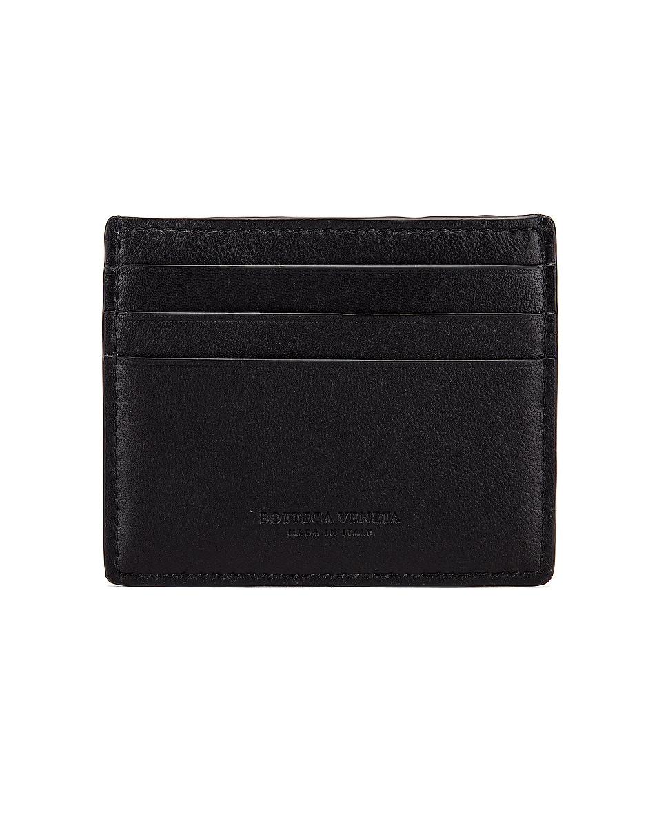 Image 2 of Bottega Veneta Leather Card Case in Black & Silver