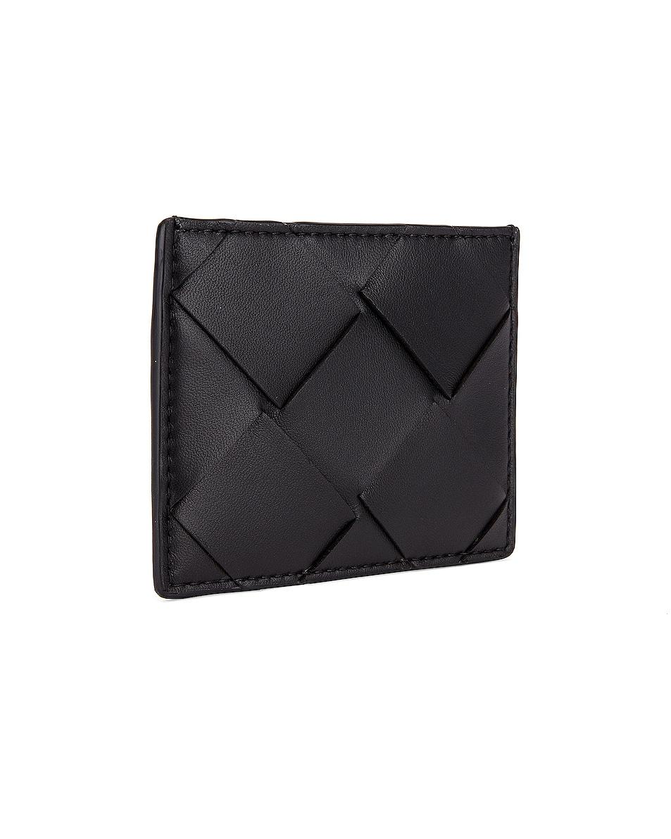 Image 3 of Bottega Veneta Leather Card Case in Black & Silver