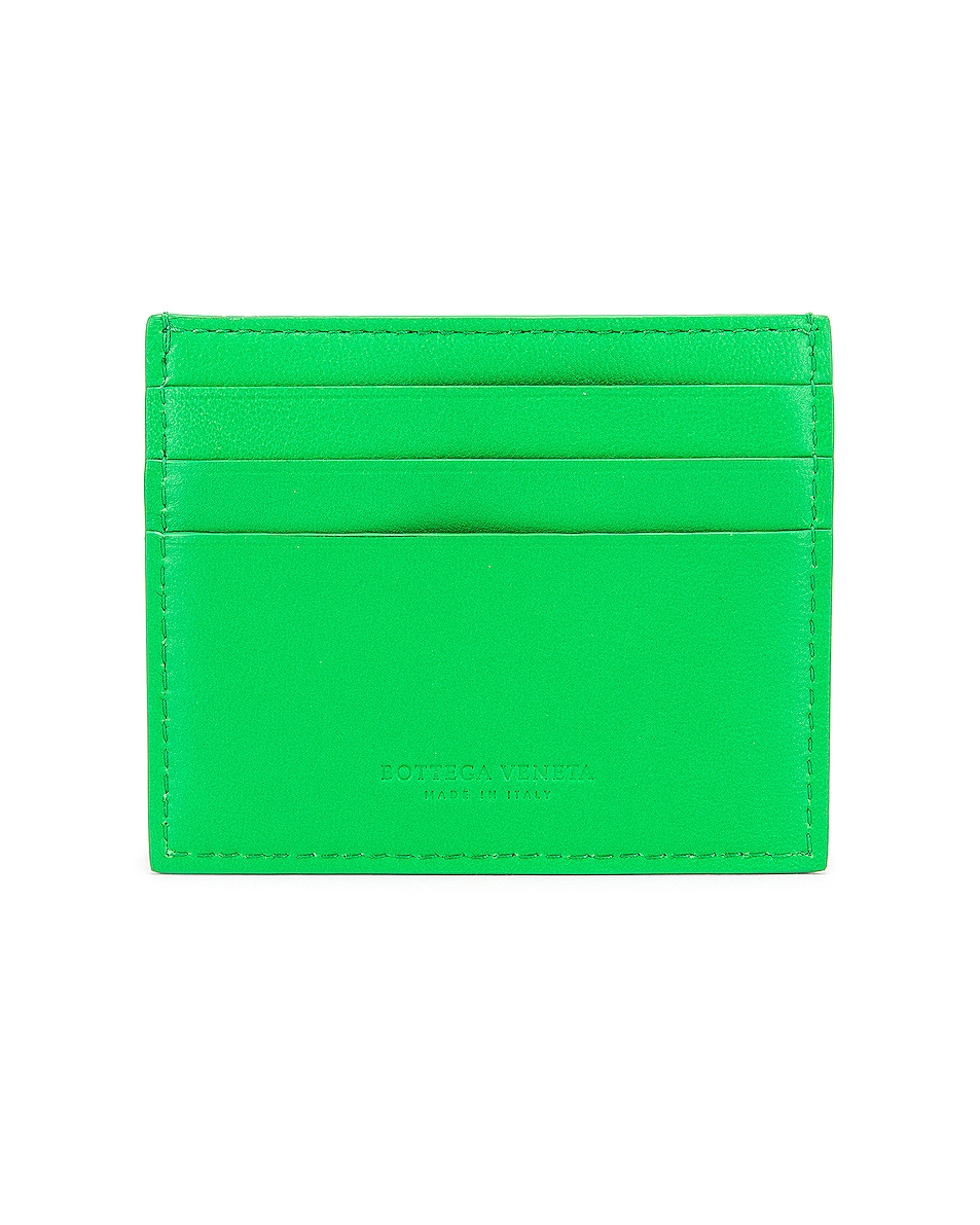 Image 2 of Bottega Veneta Leather Card Case in Grass & Gold