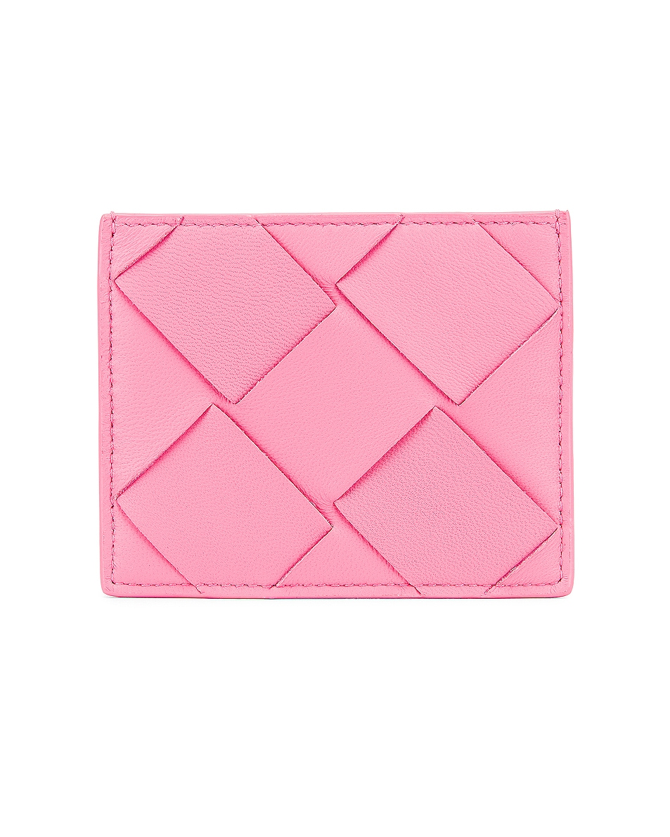Image 1 of Bottega Veneta Leather Card Case in Rosa & Silver