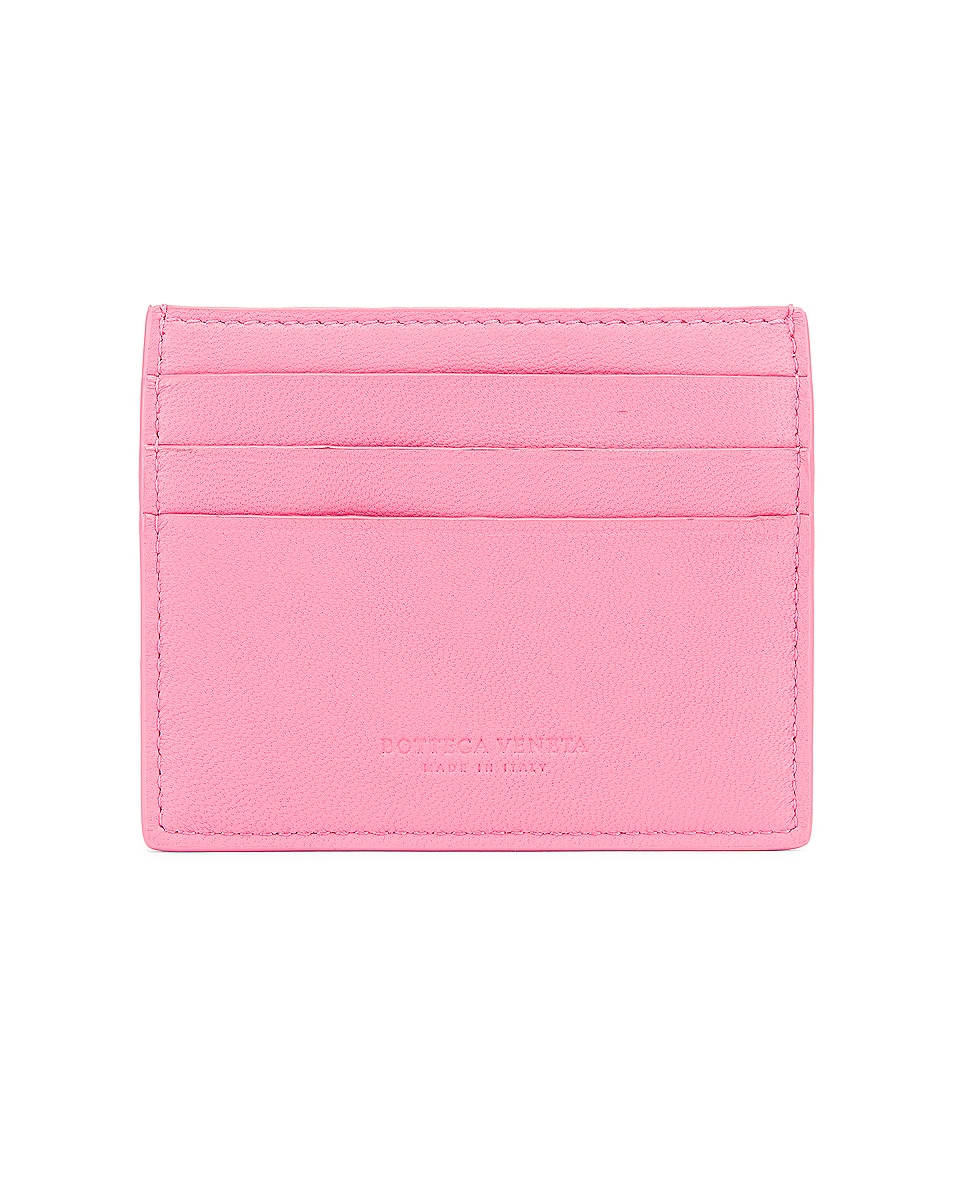 Image 2 of Bottega Veneta Leather Card Case in Rosa & Silver