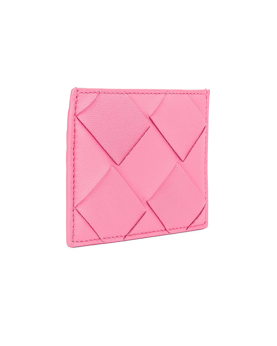 Image 3 of Bottega Veneta Leather Card Case in Rosa & Silver