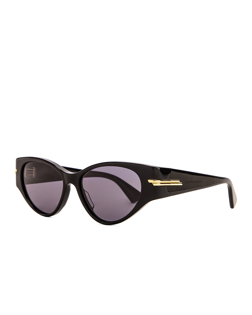 Image 2 of Bottega Veneta Original 02 Cat Eye Sunglasses in Shiny Black & Grey