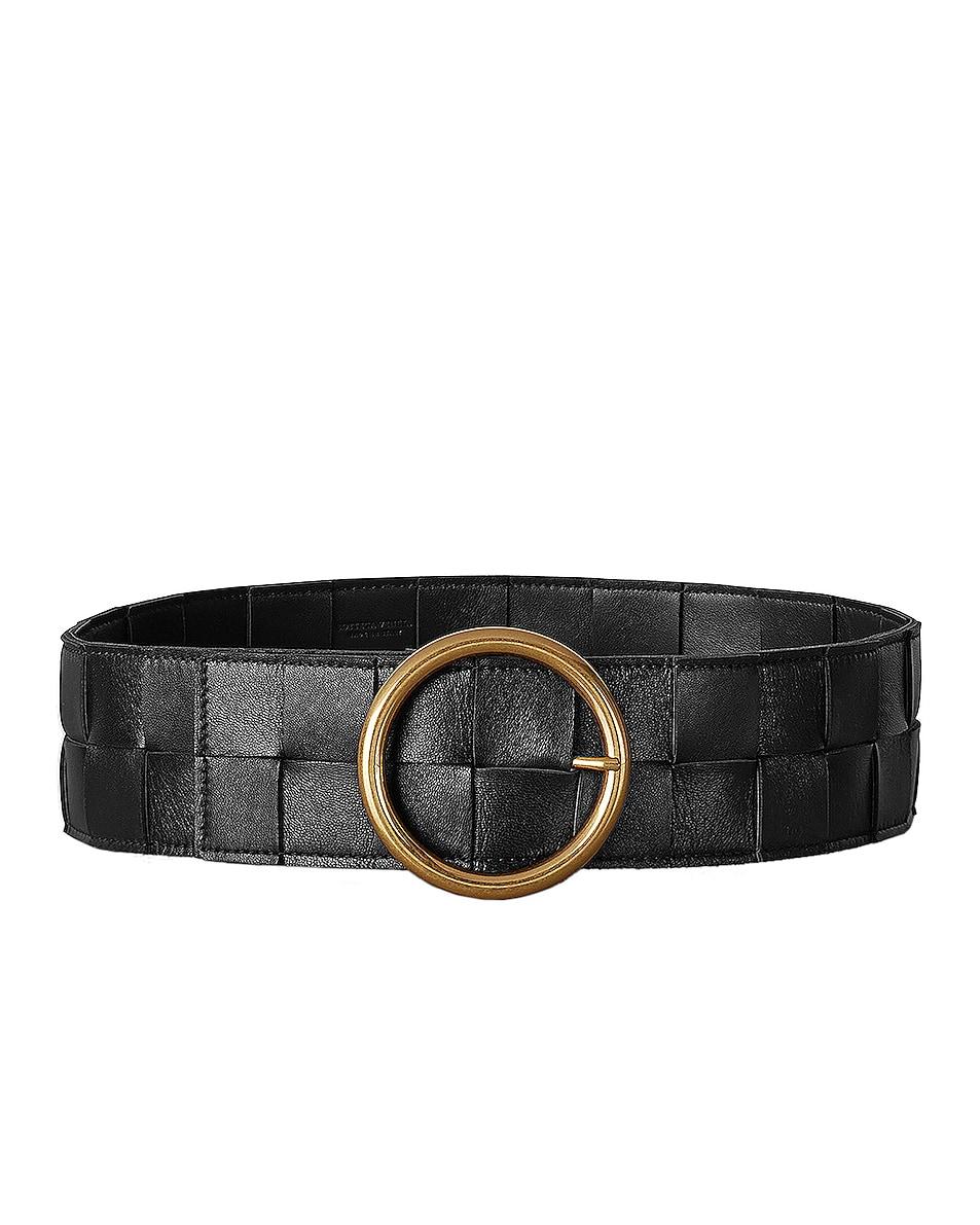 Image 1 of Bottega Veneta Leather Woven Belt in Black & Gold