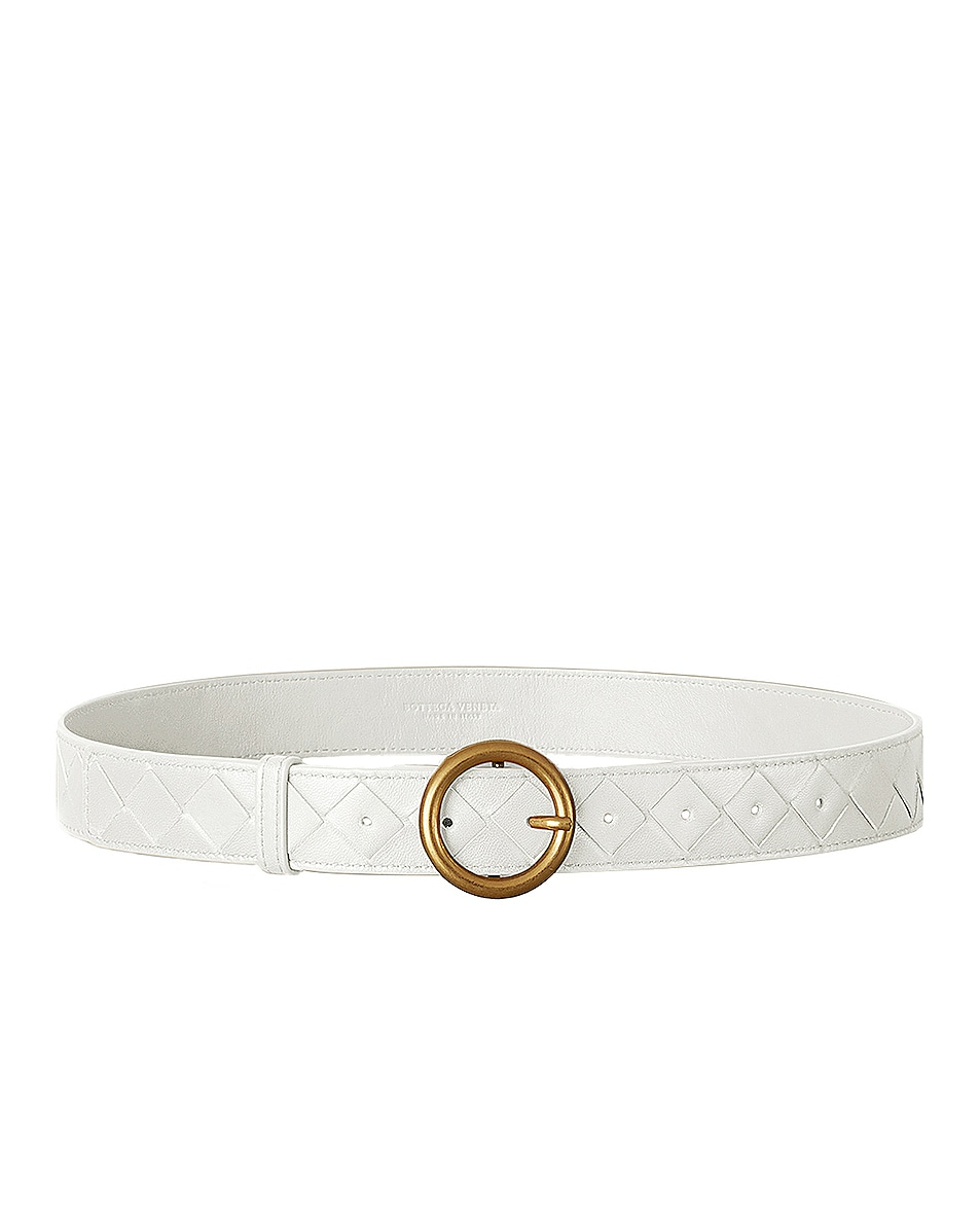 Image 1 of Bottega Veneta Leather Belt in White & Gold