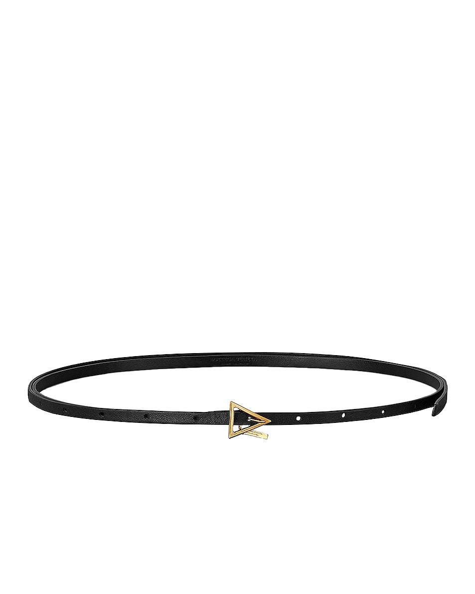 Image 1 of Bottega Veneta Leather Skinny Belt in Black & Gold
