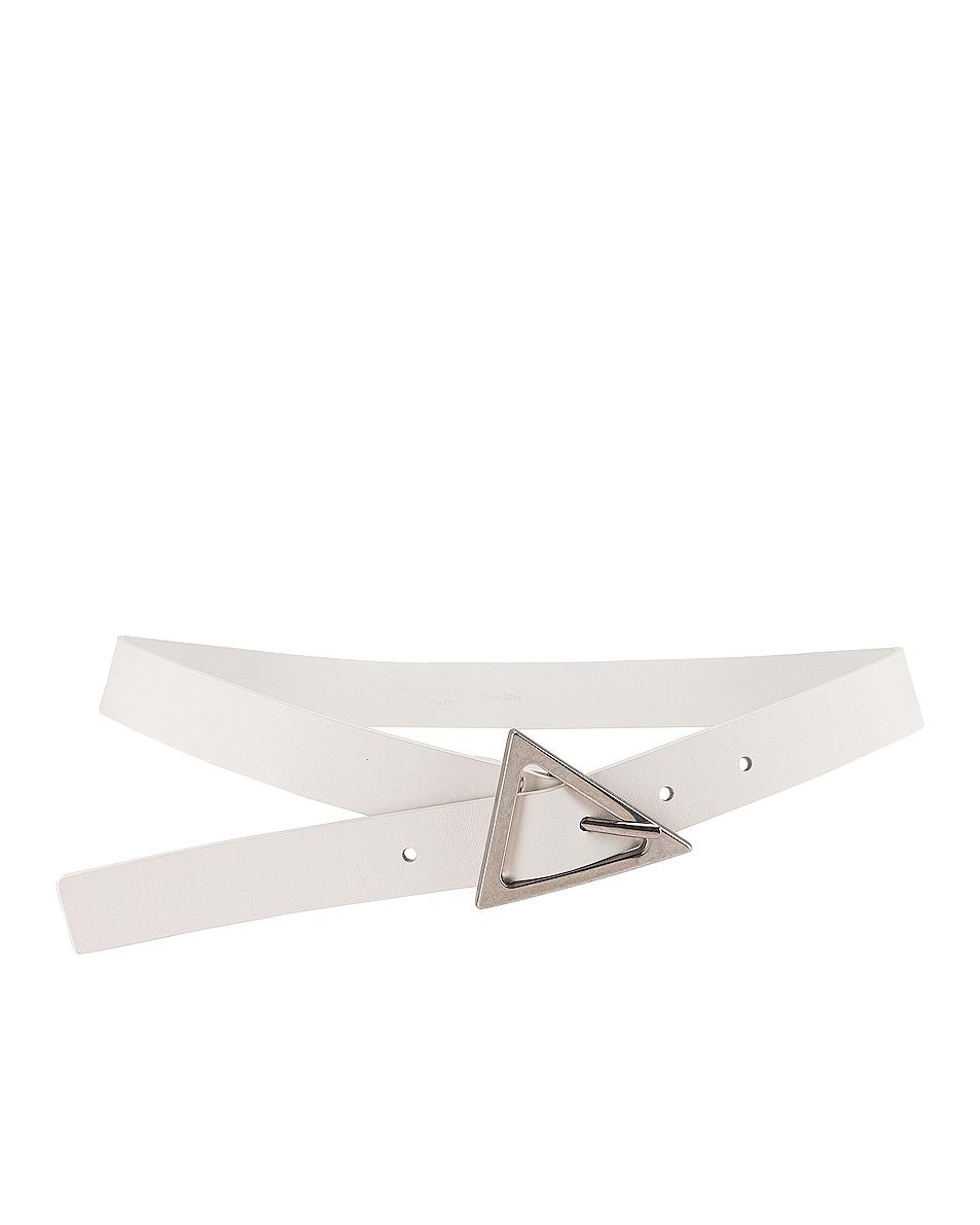 Image 1 of Bottega Veneta Leather Belt in White & Silver