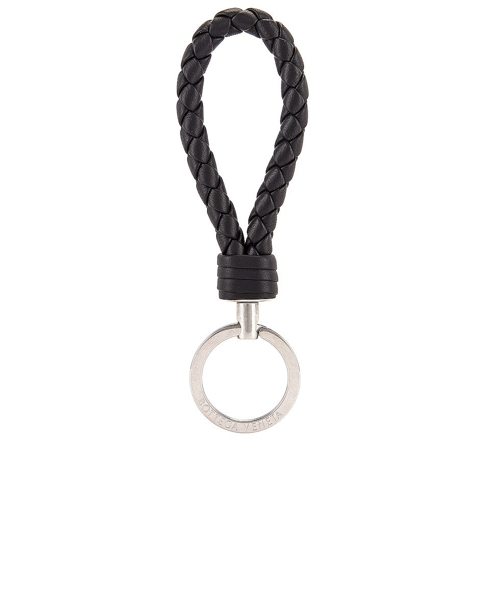 Image 1 of Bottega Veneta Leather Woven Key Ring in Black & Silver