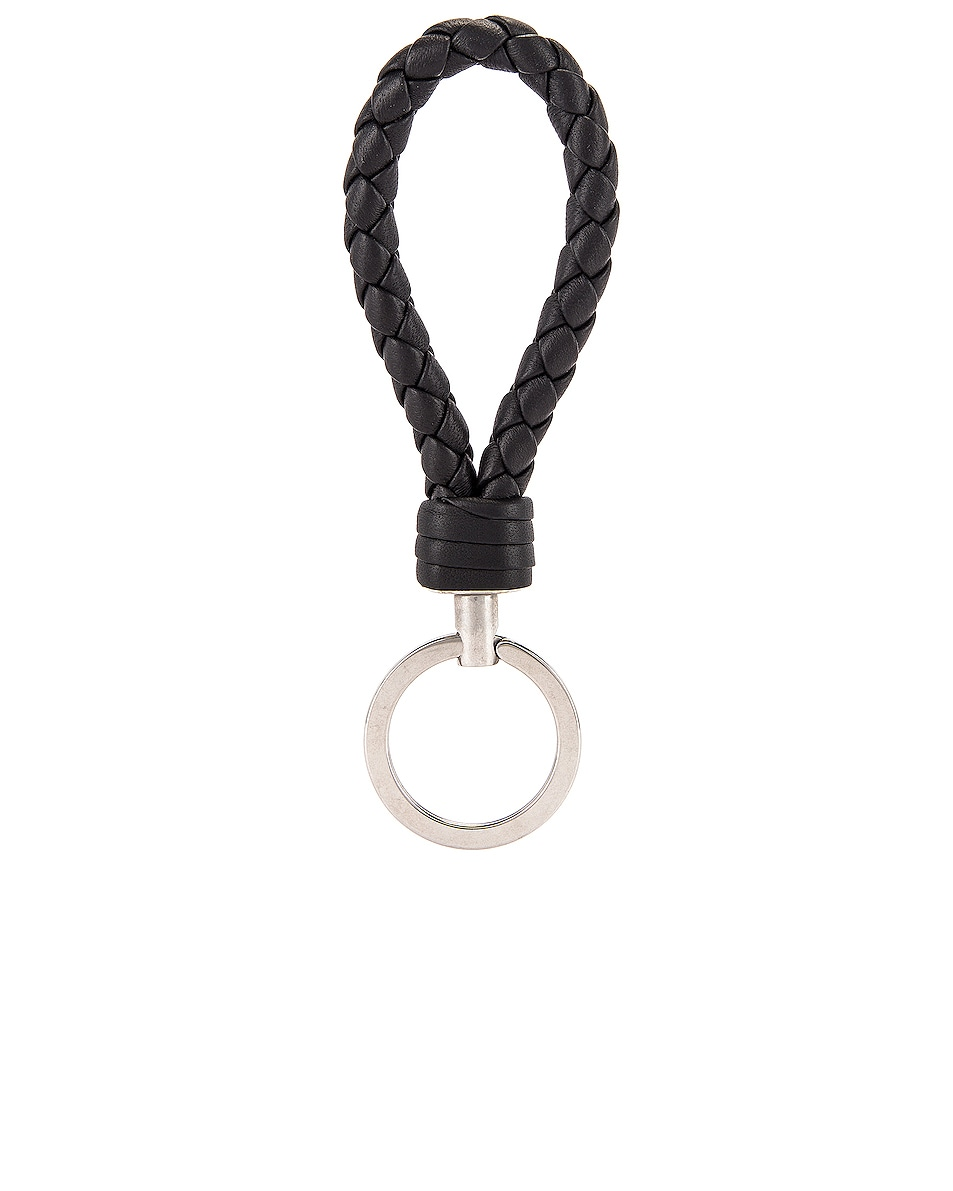 Image 2 of Bottega Veneta Leather Woven Key Ring in Black & Silver