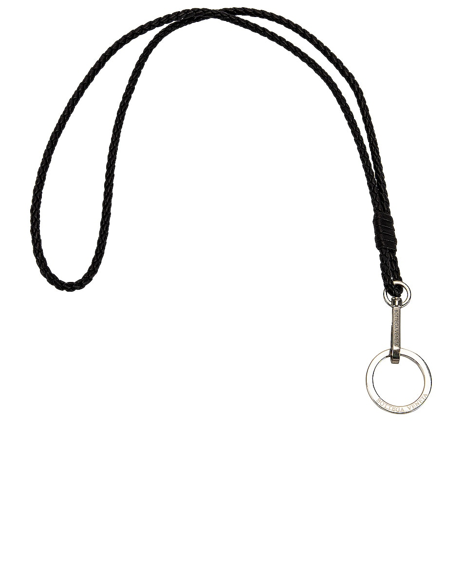 Image 1 of Bottega Veneta Leather Woven Lanyard in Black & Silver