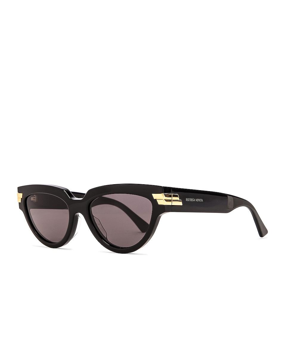 Image 2 of Bottega Veneta Cat Eye Sunglasses in Shiny Black & Grey