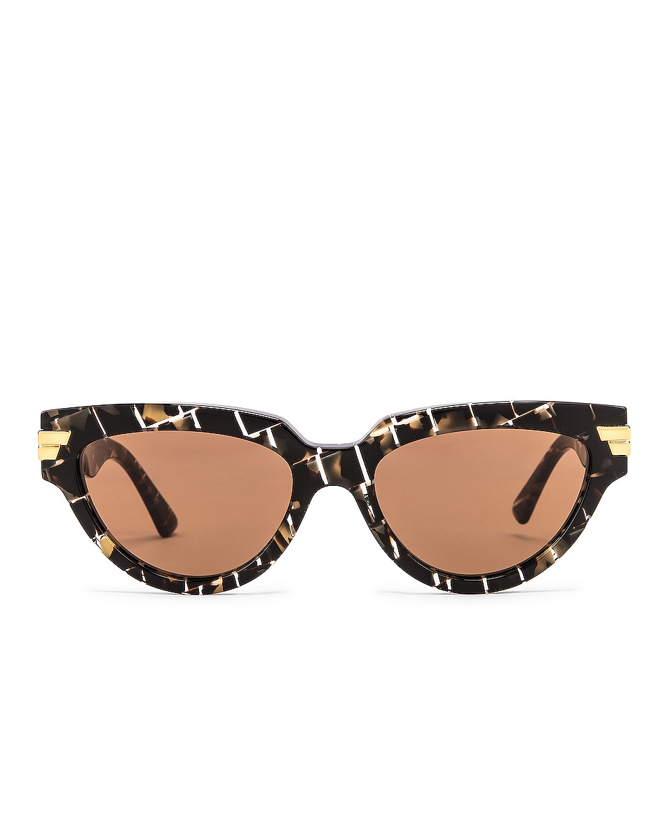 Image 1 of Bottega Veneta Intrecciato Cat Eye Sunglasses in Havana & Brown