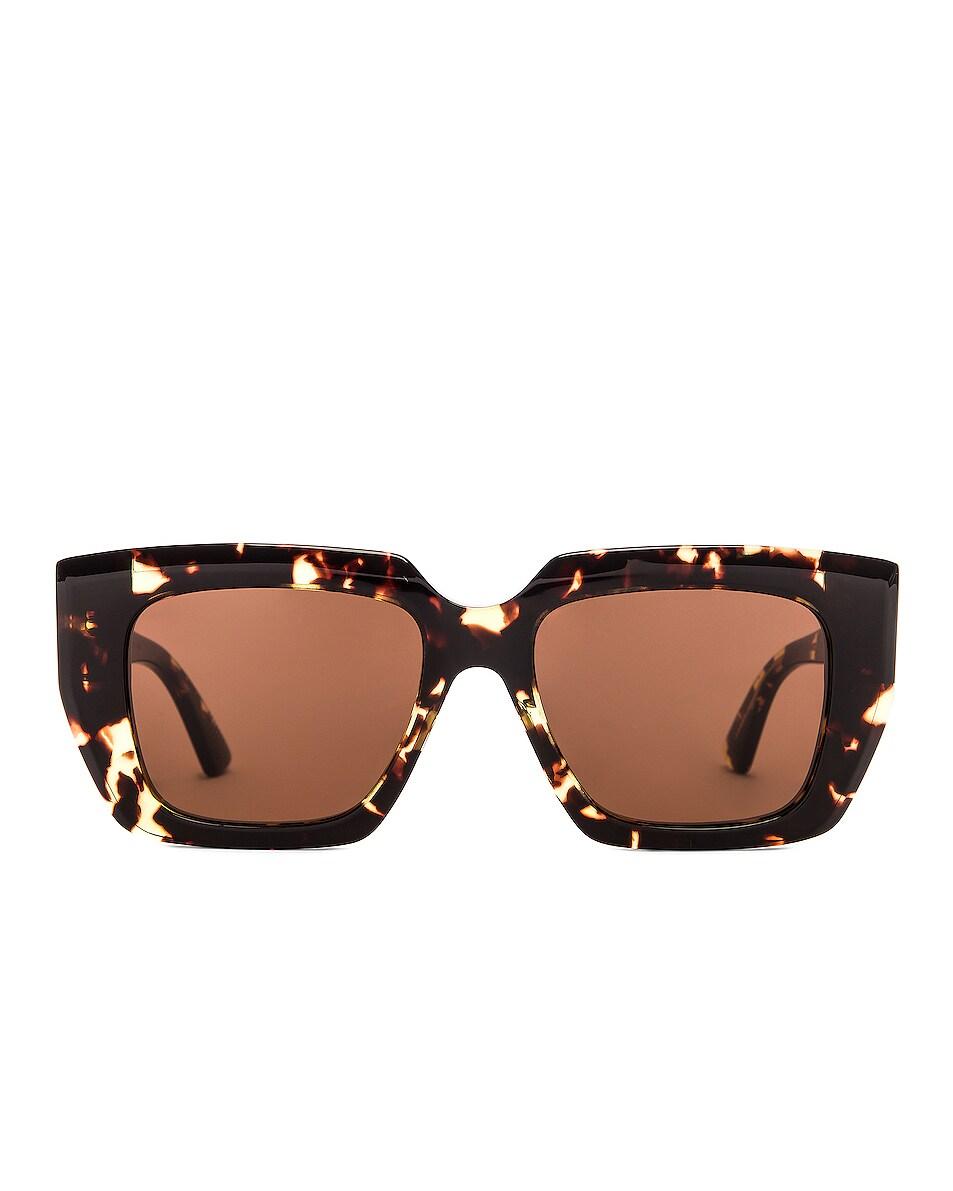 Image 1 of Bottega Veneta Square Sunglasses in Havana & Brown