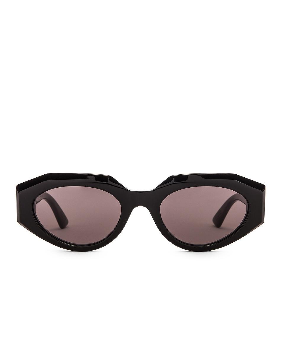 Image 1 of Bottega Veneta Soft Cat Eye Sunglasses in Shiny Black & Grey