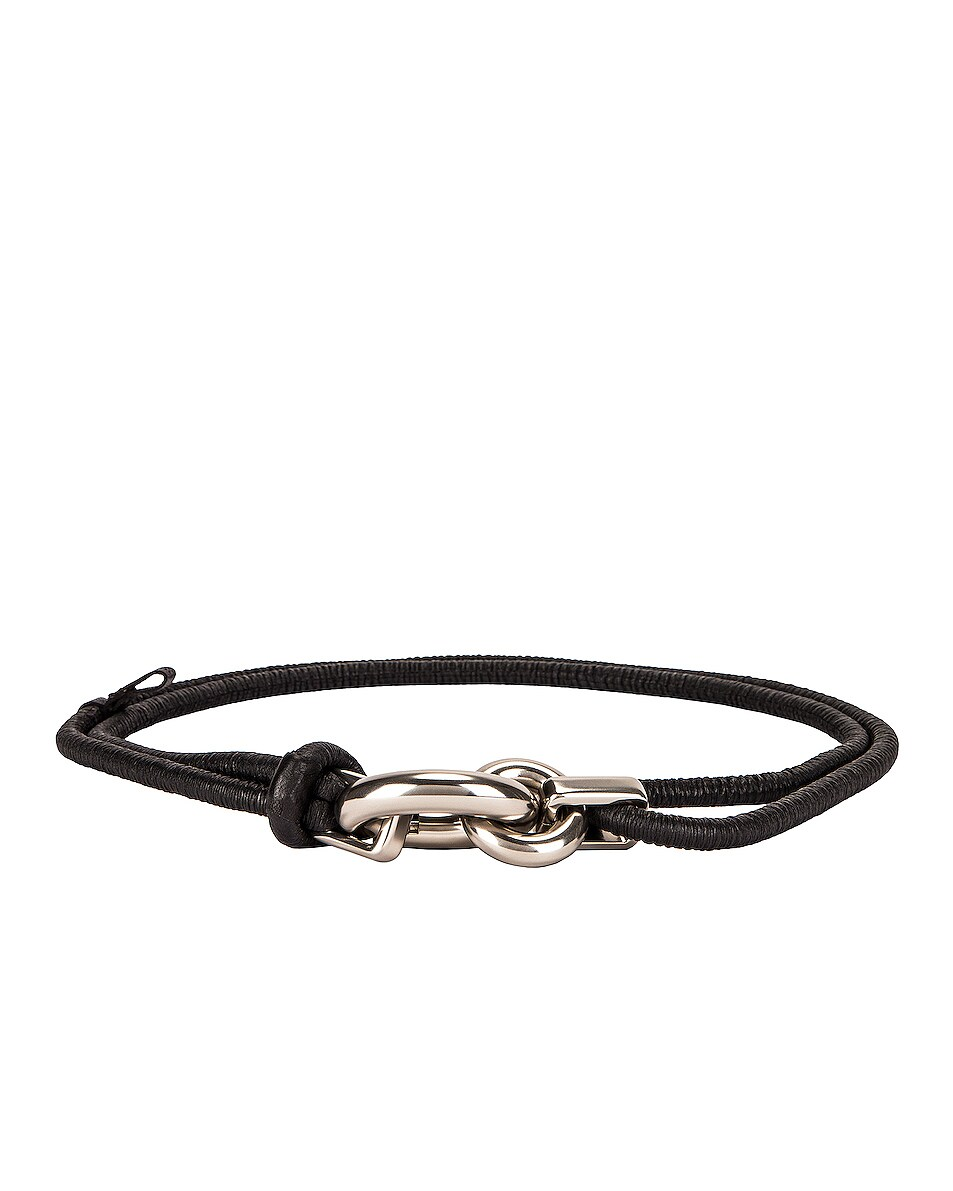 Image 1 of Bottega Veneta Skinny Belt in Black & Silver