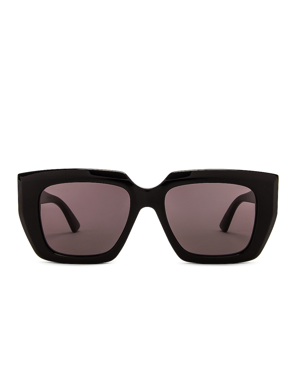 Image 1 of Bottega Veneta Square Sunglasses in Shiny Black