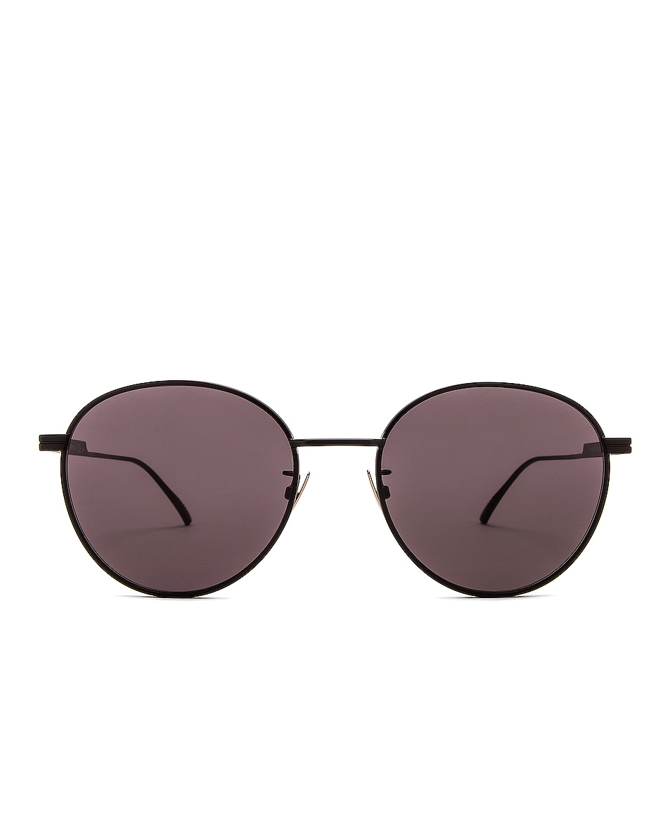 Image 1 of Bottega Veneta Metal Round Sunglasses in Semimatte Black