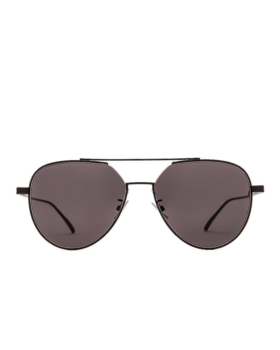 Image 1 of Bottega Veneta Metal Pilot Sunglasses in Shiny Black