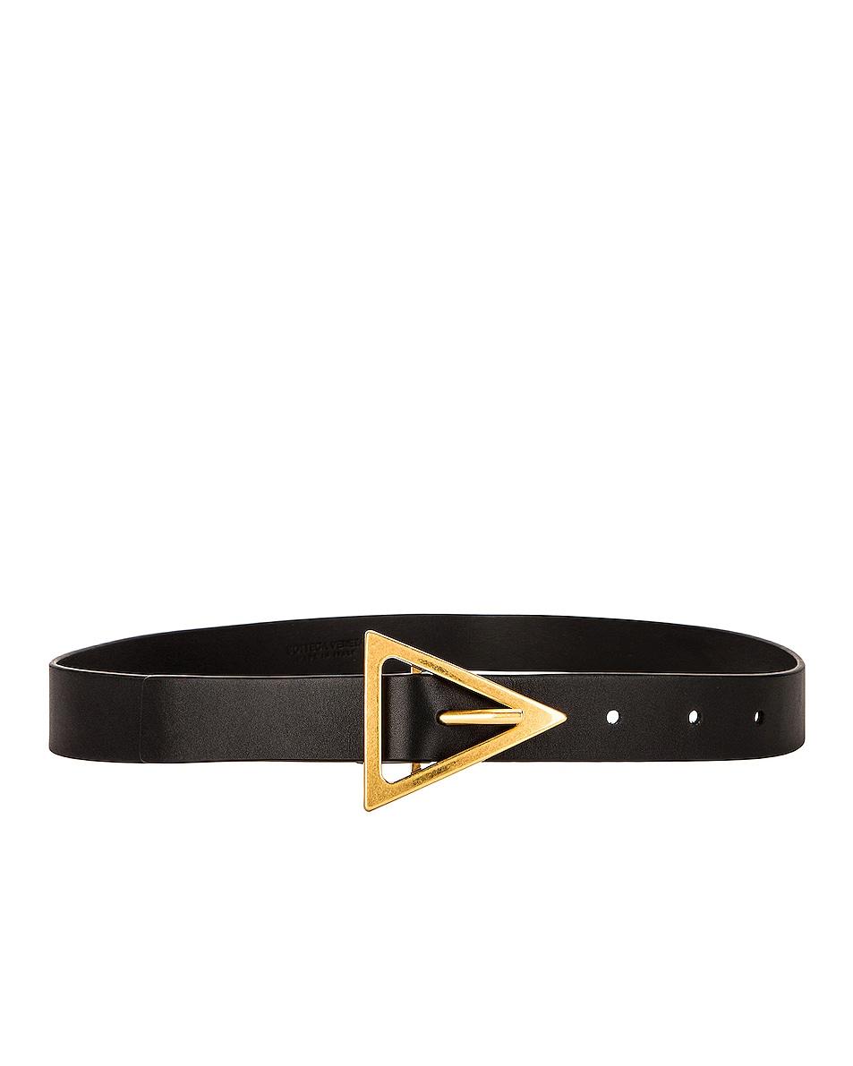 Image 1 of Bottega Veneta Leather Belt in Black & Gold