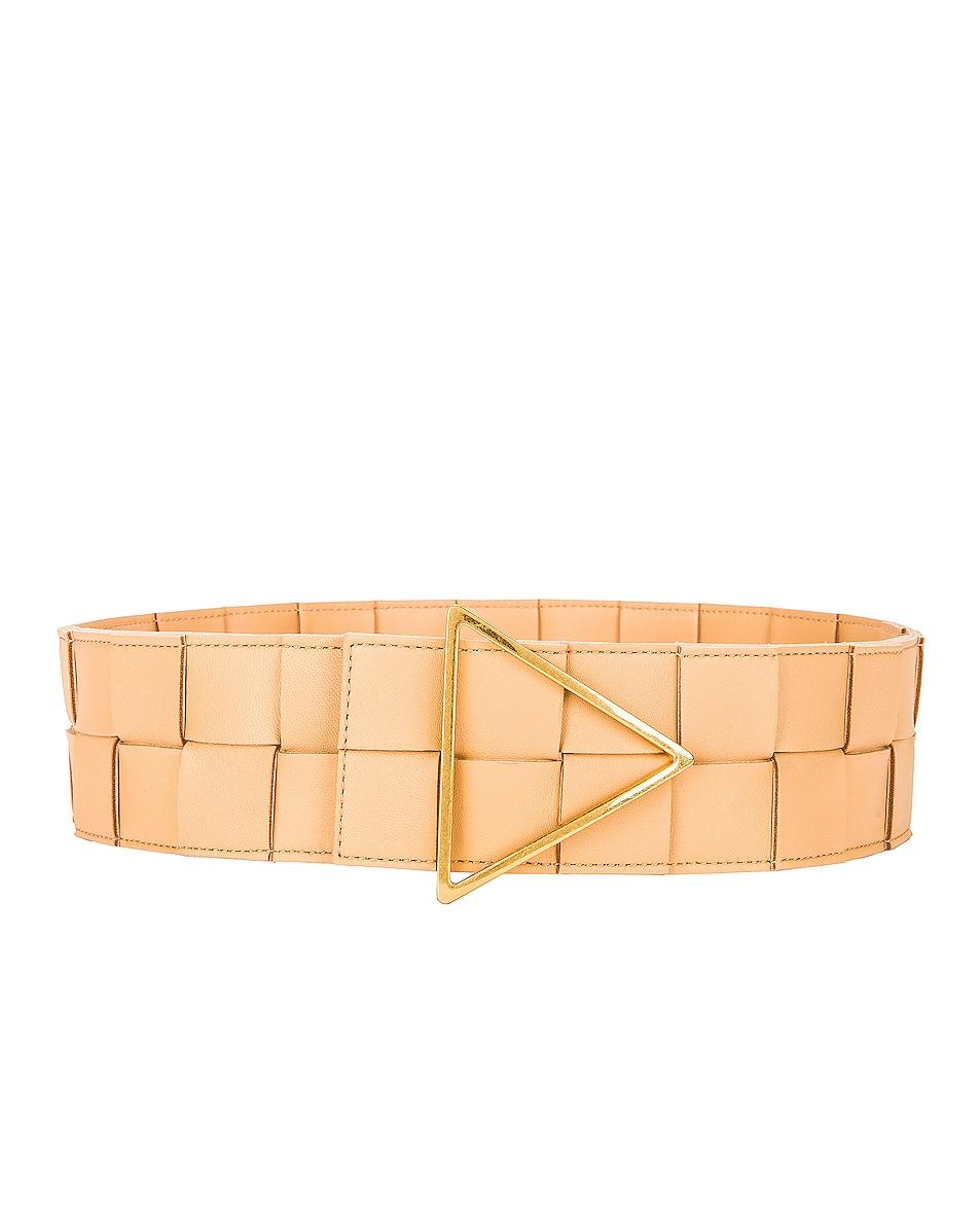Image 1 of Bottega Veneta Maxi Intreccio Belt in Almond & Gold