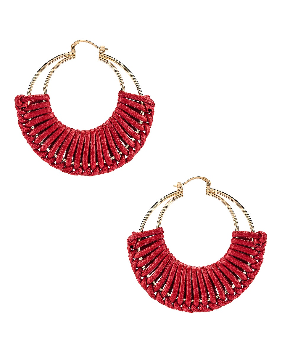 Image 1 of Bottega Veneta Leather Hoop Earrings in Bright Red