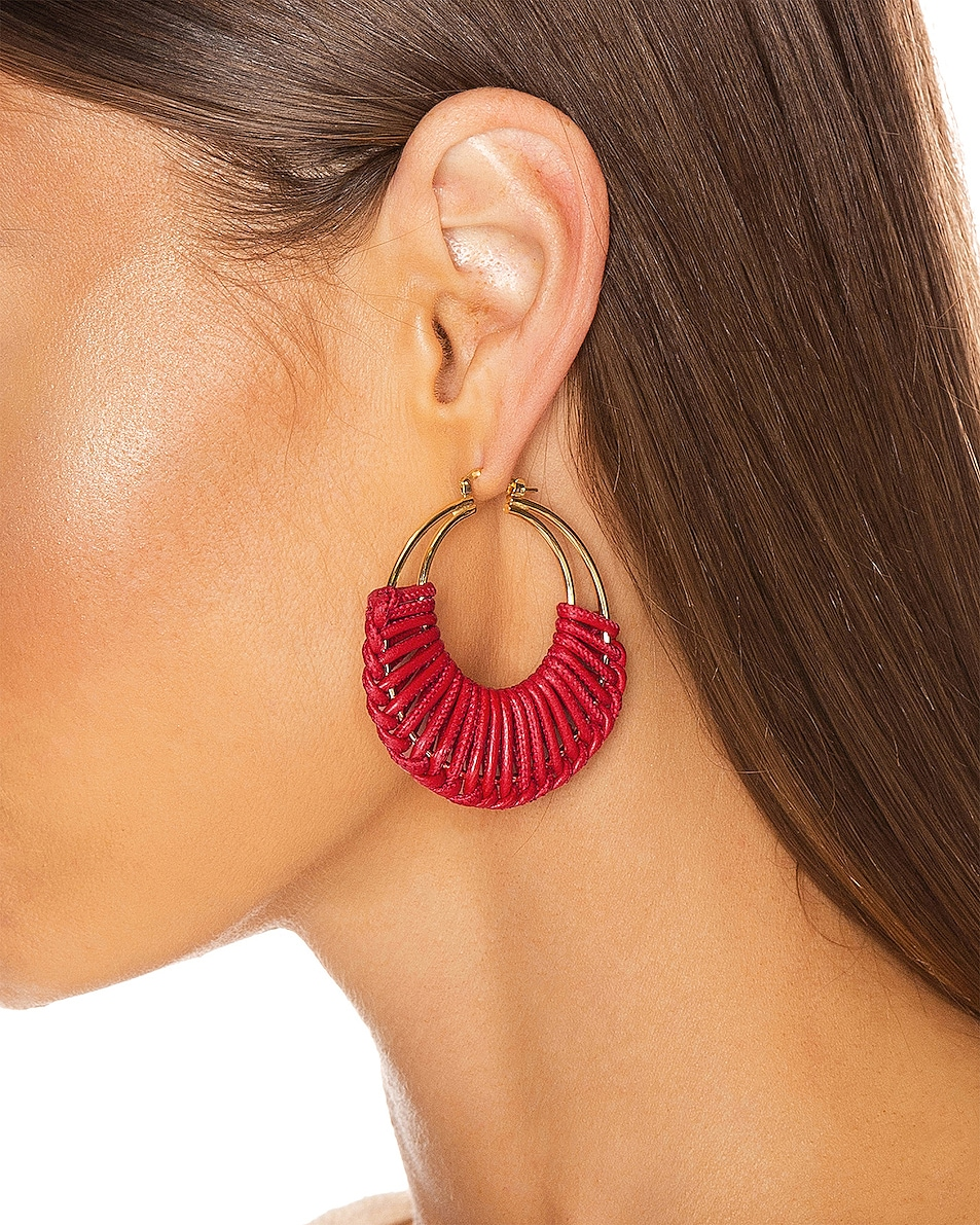 Image 2 of Bottega Veneta Leather Hoop Earrings in Bright Red