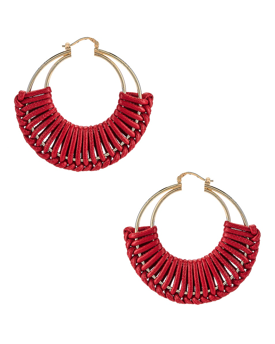 Image 4 of Bottega Veneta Leather Hoop Earrings in Bright Red