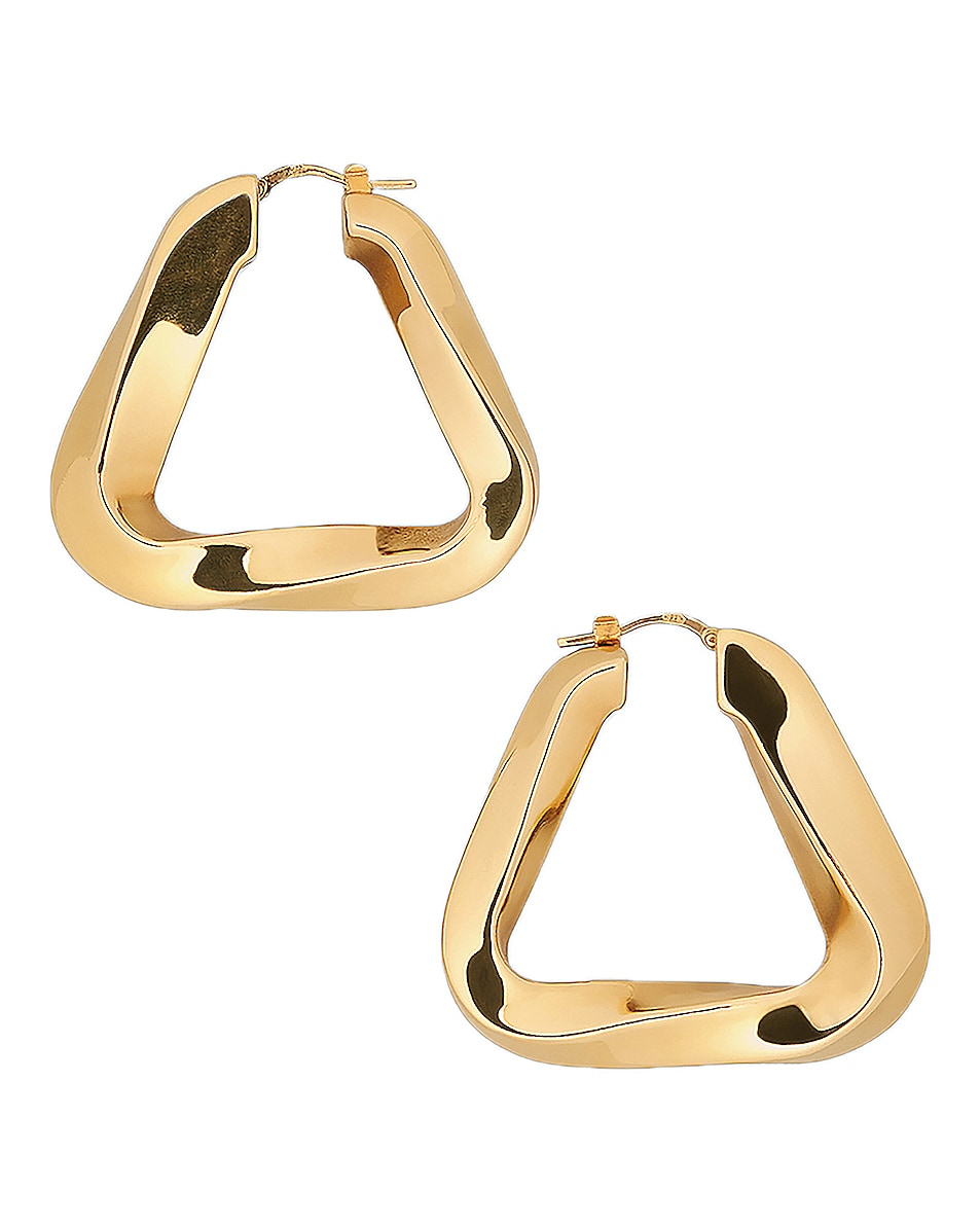 Image 1 of Bottega Veneta Triangle Earrings in Argento Oro Giallo