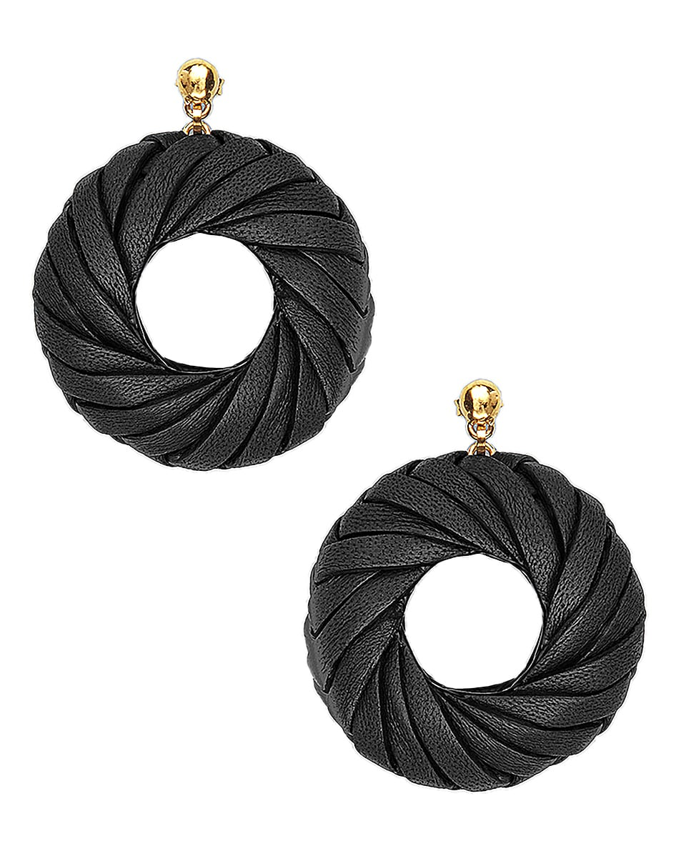 Image 1 of Bottega Veneta Leather Circle Earrings in Black