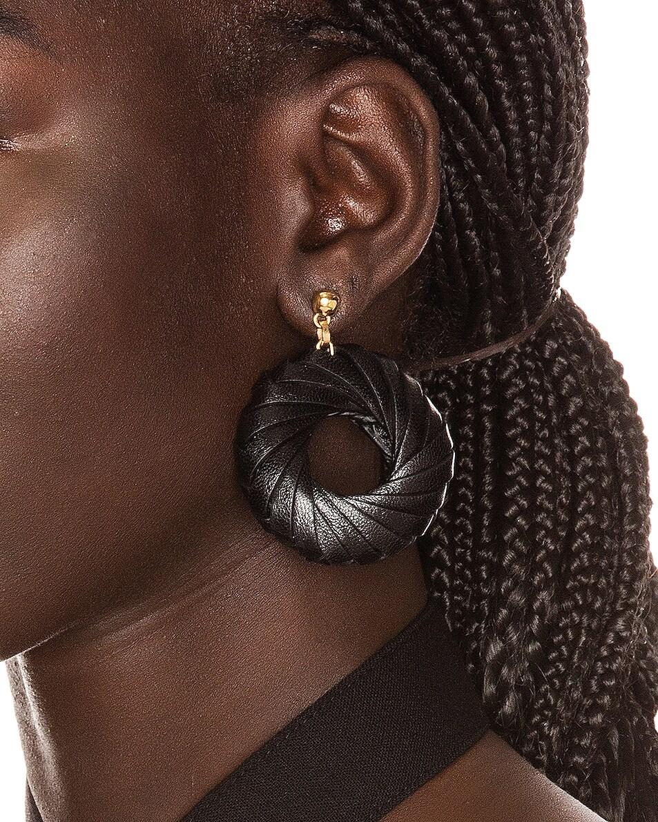 Image 2 of Bottega Veneta Leather Circle Earrings in Black