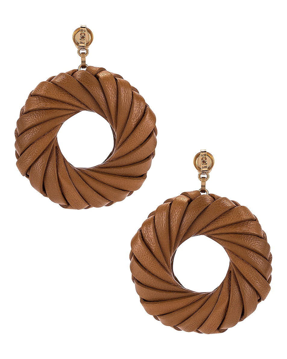 Image 4 of Bottega Veneta Leather Circle Earrings in Caramel